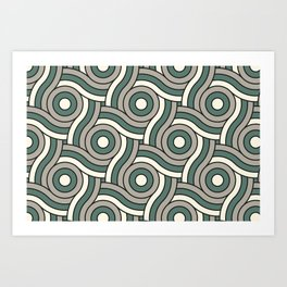 Circle Swirl Pattern Ever Classic Gray 32-24 Thistle Green 22-18 and Dover White 33-6 Art Print