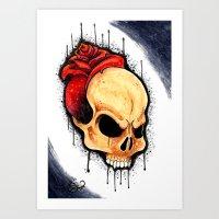 Skull Rose by  Ted E. Art Print
