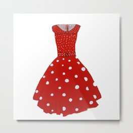 Polka Dotted Red Dress  Metal Print