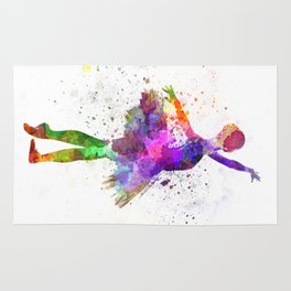 Young woman ballerina ballet dancer dancing with tutu Rug