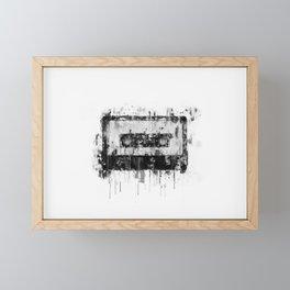 cassette / tape Illustration black and white painting Framed Mini Art Print