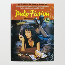 Pulp Fiction Movie Poster, Written And Directed By Quentin Tarantino Artwork, Posters, Prints, Tshir Poster