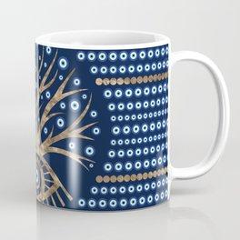 Greek Eye Tree - Mati Mataki gold and dark blue Coffee Mug