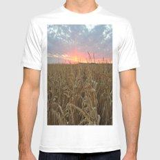 Corn Maze Sunset Mens Fitted Tee MEDIUM White