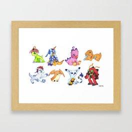 Digimon Group Framed Art Print