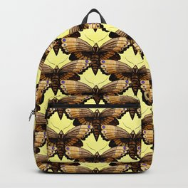 Brown Moths On Pastel Yellow Backpack