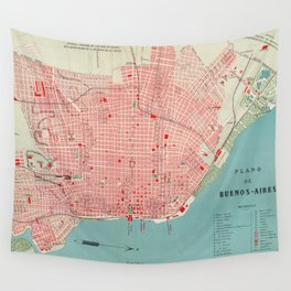 Vintage Map of Buenos Aires Argentina (1888) Wall Tapestry