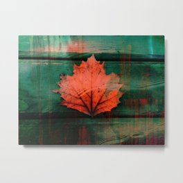 Rusty red dried fall leaf on wooden hunter green beams Metal Print