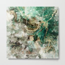 Teal Contemporary and Abstract Painting Metal Print