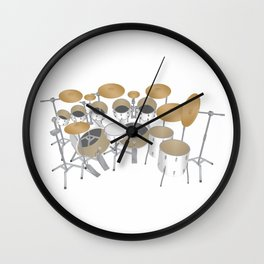 White Drum Kit Wall Clock