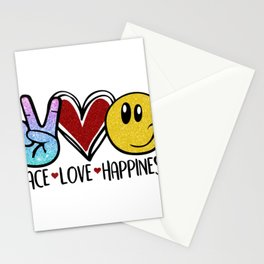Peace Love Happiness Peace Heart Smiley Face Stationery Cards