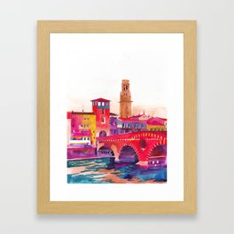 Verona Bridge Framed Art Print