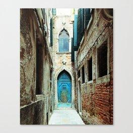 Venice Italy Turquoise Blue Door Canvas Print