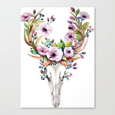 Boho watercolour skull with purple flowers crown Canvas Print