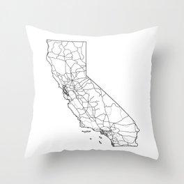 California White Map Throw Pillow