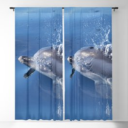 Dolphins and bubbles Blackout Curtain