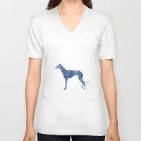 greyhound V-neck T-shirts featuring Greyhound by Carma Zoe