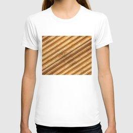 texture wood logs diagonal T-shirt