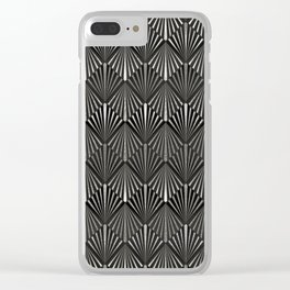 Facing Suns - Silver and Black - Classic Vintage Art Deco Pattern Clear iPhone Case