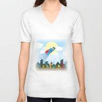 superman V-neck T-shirts featuring SUPERMAN by voskovski