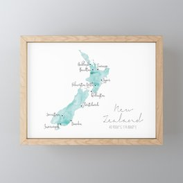 New Zealand Labelled Map // Turquoise Watercolour Framed Mini Art Print