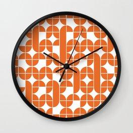 Mid Century Modern Geometric Pattern Orange Wall Clock