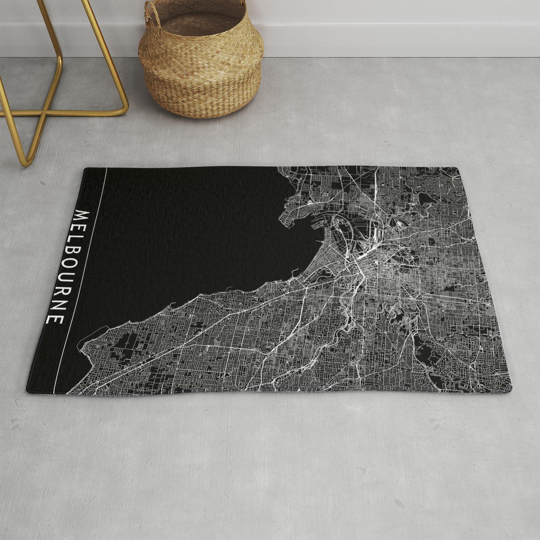 Melbourne Black Map Rug By Multiplicity