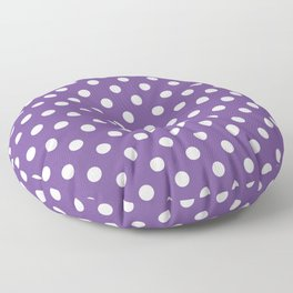 Small Polka Dots - White on Dark Lavender Violet Floor Pillow