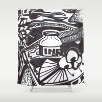 writer Shower Curtains featuring Food writer by ABBY SNATCH