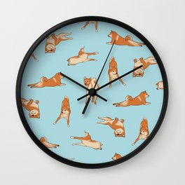 Shiba Inu Print Blue Wall Clock