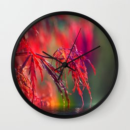 Plant in Red Wall Clock
