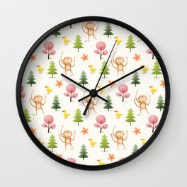 Pastel pink floral brown funny monkey yellow duck pattern Wall Clock