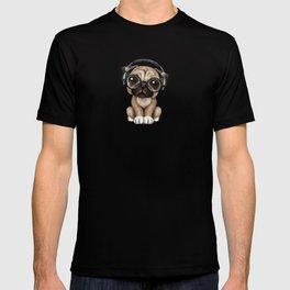 Cute Pug Puppy Dj Wearing Headphones and Glasses T-shirt