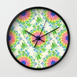 Midsummer Bright Boho Mandala Wall Clock