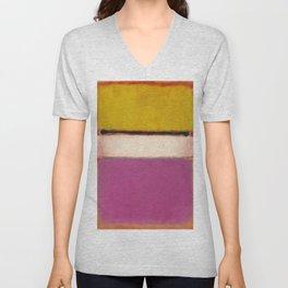 White Center (Yellow, Pink and Lavender on Rose) - Mark Rothko Unisex V-Neck
