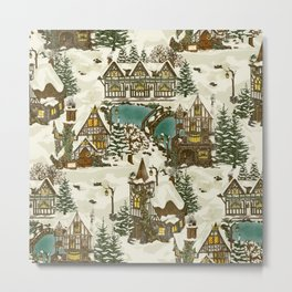 Snowy Christmas in Tudor Village Metal Print