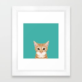 Tabby orange cat head cat breed gifts cute tabby cats must haves Framed Art Print