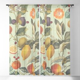 Vintage Fruit Pattern XIII Sheer Curtain