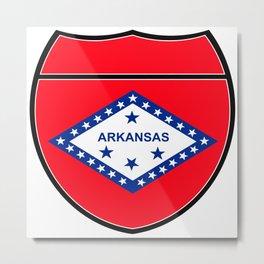 Arkansas Flag In An Interstate Sign Metal Print