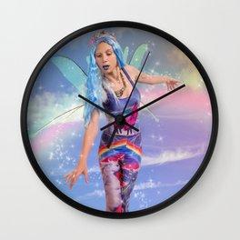 Trippy fairy walking on clouds Wall Clock