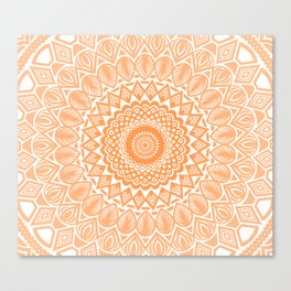 Orange Tangerine Mandala Detailed Textured Minimal Minimalistic Canvas Print