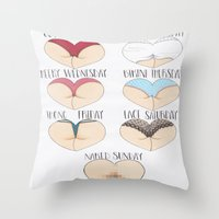 booty Throw Pillows featuring Booty Week by Molly Violence