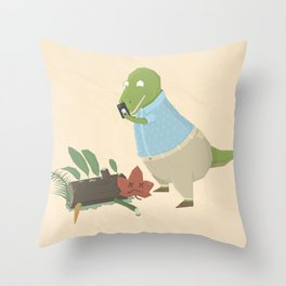 Hipster Dinosaur Instagrams his Vegan Lunch Throw Pillow