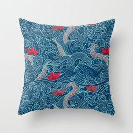 Octopus Ocean Playground smaller print Throw Pillow