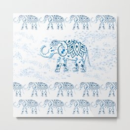 Blue Decorated Indian Elephant Metal Print