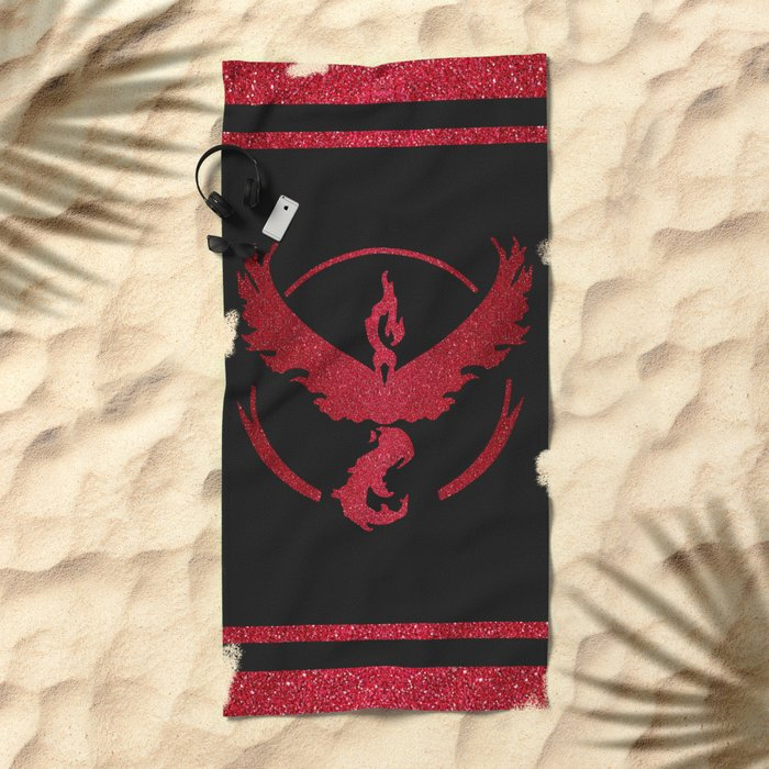 Team Valor Sparkly red sparkles Beach Towel
