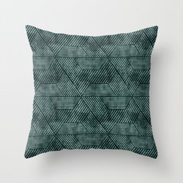 cadence triangles - dark green Throw Pillow
