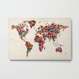 Butterflies Map of the World Map Metal Print