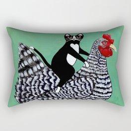 Cat on a Chicken Rectangular Pillow