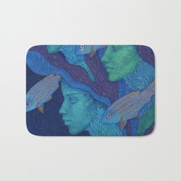 The Waiting, underwater fantasy, girls & fish Bath Mat
